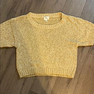 MILLY gold knit short sleeve sweater